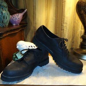 "Frye Shoes - Frye ""Union"" Black Suede Leather Lug Sole Shoes"